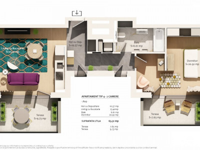 Apartament 2 camere imobil nou zona Pta. Abator